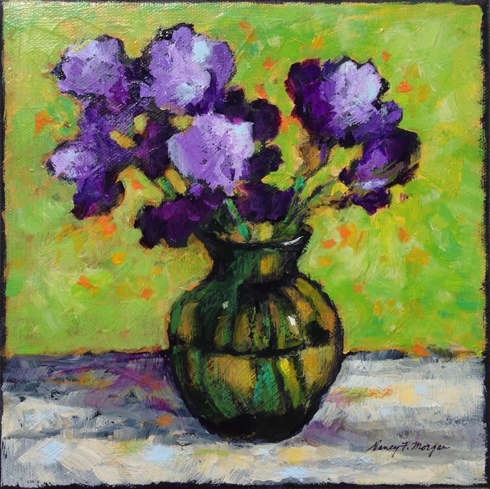 """Iris in Green Glass Vase"" original fine art by Nancy F. Morgan"