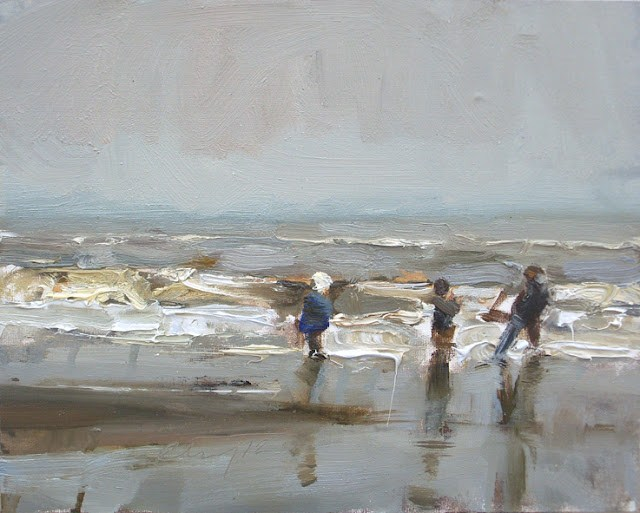 """Seascape winter #31 Winter sea and 3 children (girl with white hat)"" original fine art by Roos Schuring"