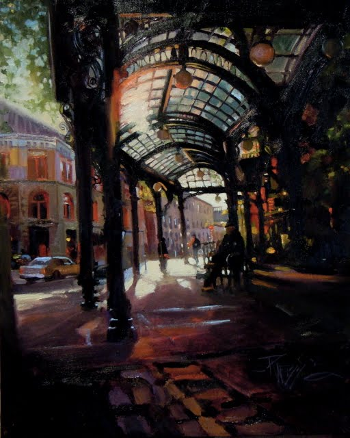 """Sunset at Pioneer Square oil cityscape for Arts in the Woods"" original fine art by Robin Weiss"