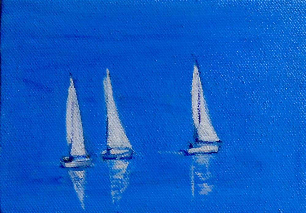 """THREE WHITE SAILS"" original fine art by Deborah Czernecky"