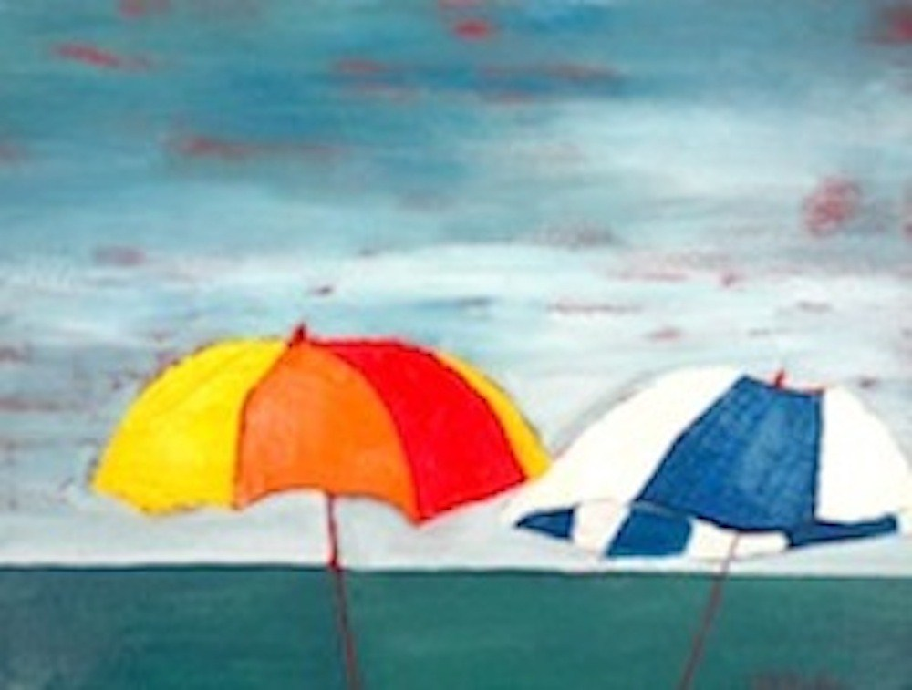 """Abstract Umbrella Pals"" original fine art by Janet Bludau"