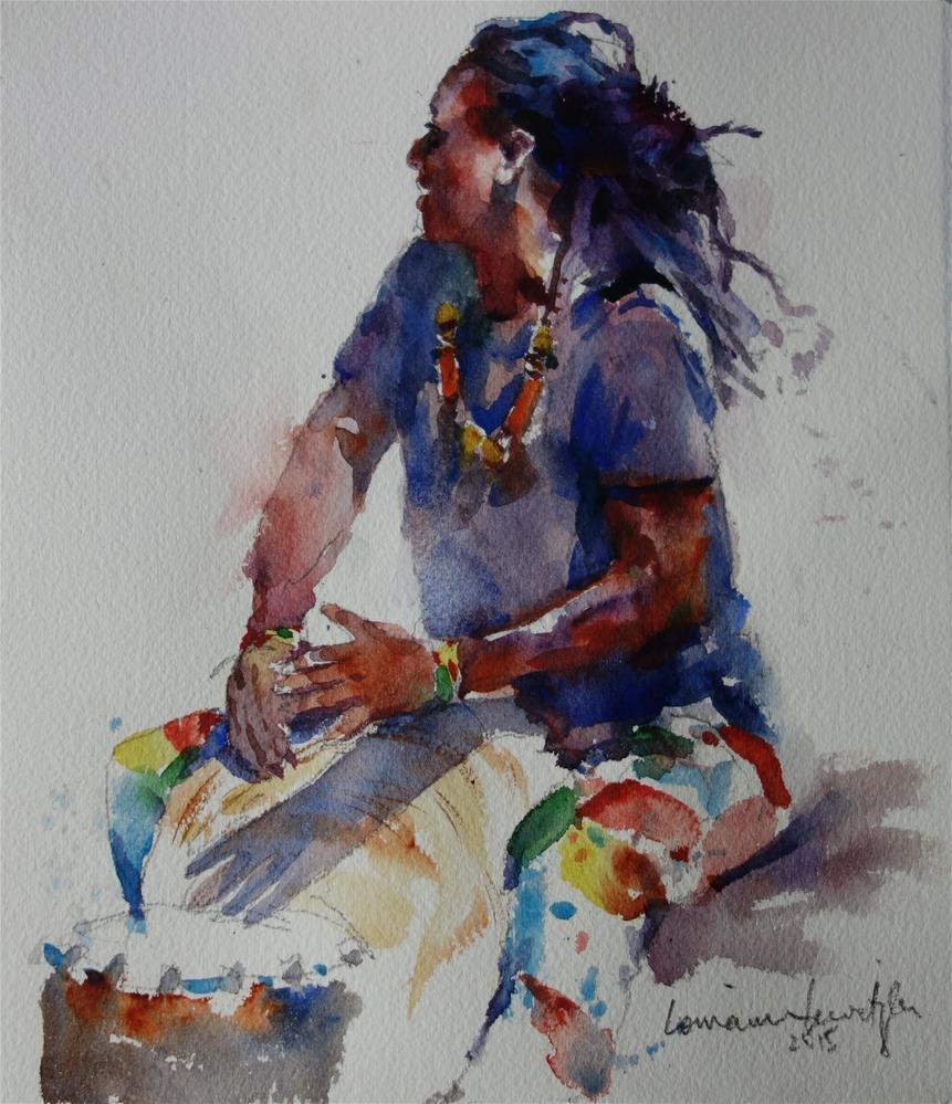 """""""African Drummer"""" original fine art by Lorraine Lewitzka"""