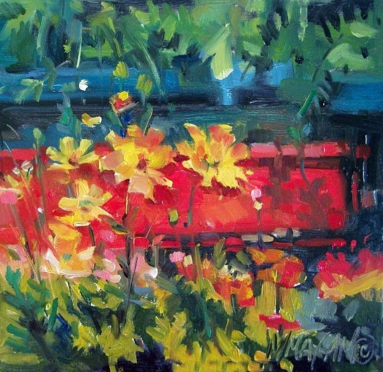 """Little Red Wagon"" original fine art by Mary Maxam"