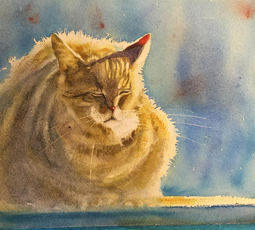 """Sunny cat wc"" original fine art by Natasha Ramras"