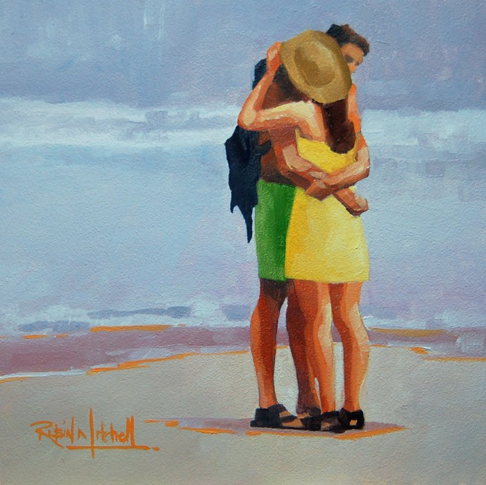 """No 587 Love at the Beach"" original fine art by Robin J Mitchell"