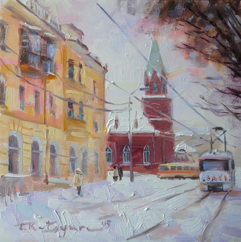 """Winter Town"" original fine art by Elena Katsyura"