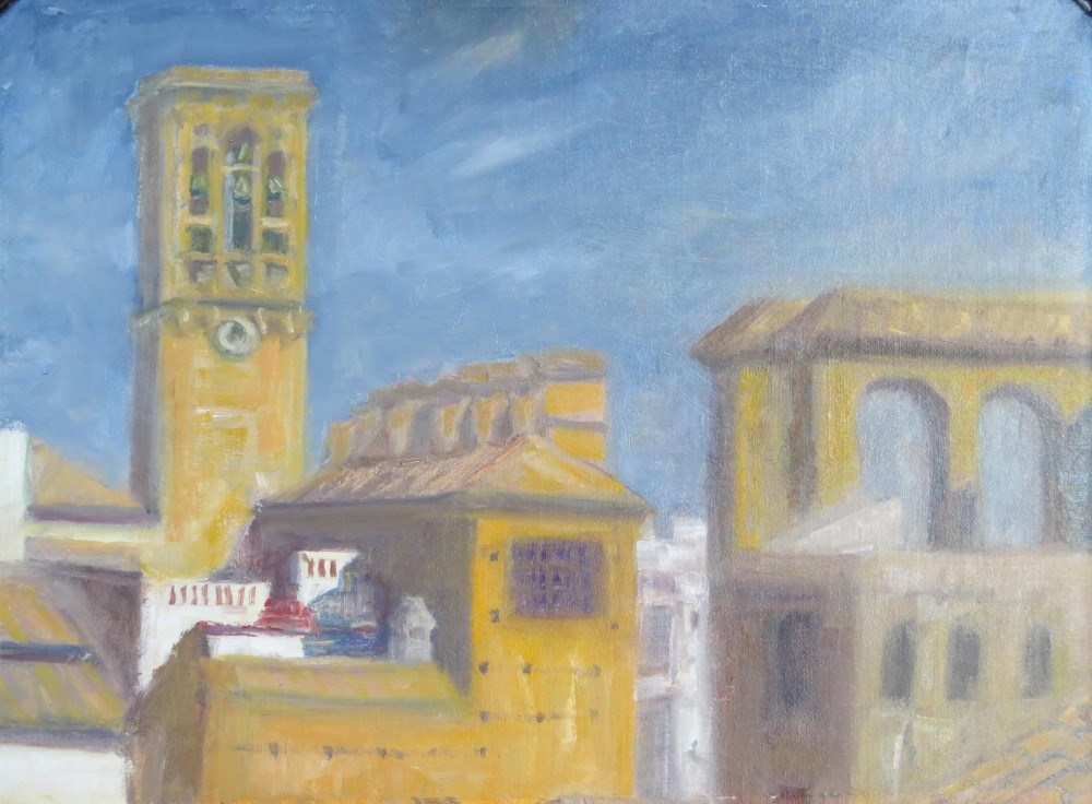 """Roof Top View, Arcos de la Frontera"" original fine art by Richard Kiehn"