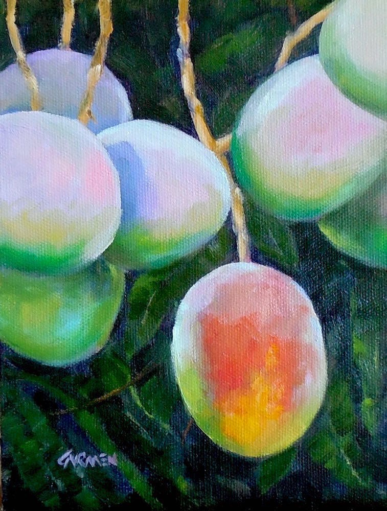 """Mango High, 6x8 Original Oil Painting on Canvas Panel"" original fine art by Carmen Beecher"