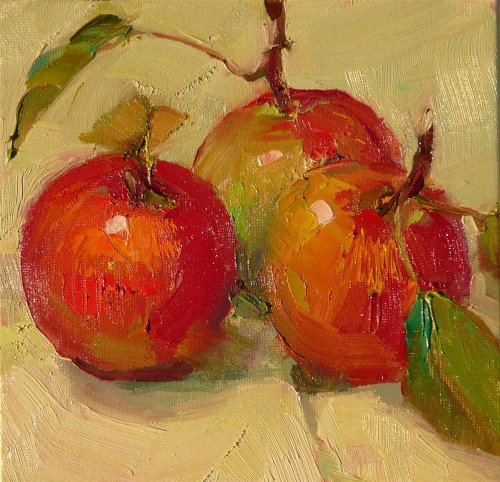 """November Apples,still life,oil on canvas,6x6,price$200"" original fine art by Joy Olney"