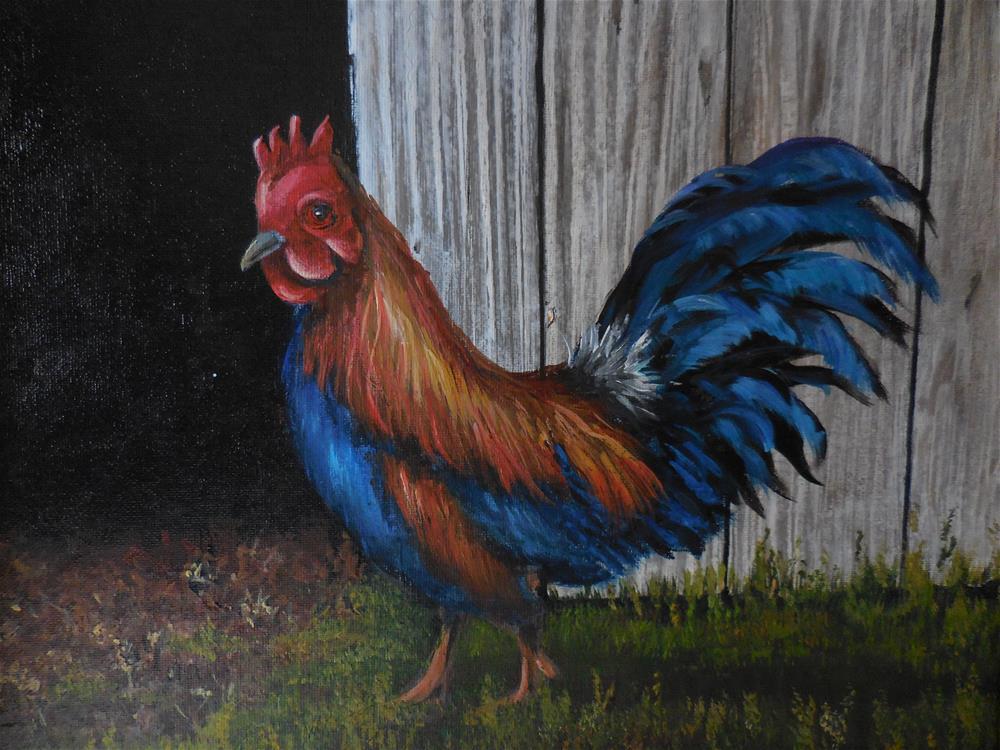 """Rooster"" original fine art by Terri Nicholson"