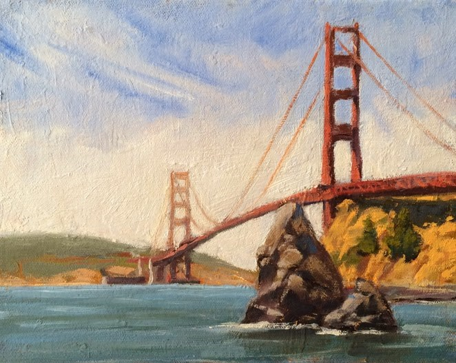 """Golden Gate Bridge"" original fine art by Deborah Newman"