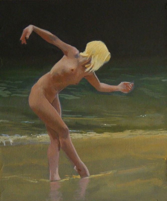 """Nude on a Cornish beach"" original fine art by Peter Orrock"