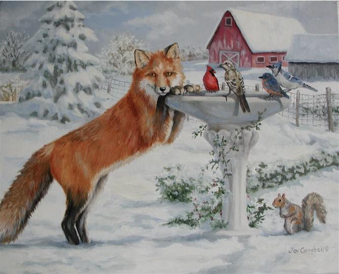 """winter Friends"" original fine art by Joy Campbell"
