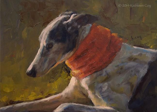 """""""Day 30 - Greyhound"""" original fine art by Kathleen Coy"""
