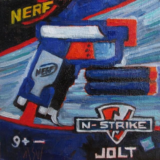 """Nerf Gun- gifted to my nephew"" original fine art by Mary Sheehan Winn"
