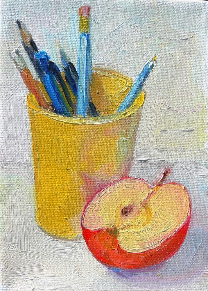"""Homework,still life,oil on canvas,7x5,price$175"" original fine art by Joy Olney"