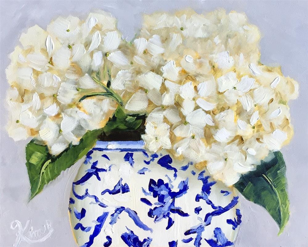 """White Hydrangeas in Ming Vase"" original fine art by Kim Peterson"