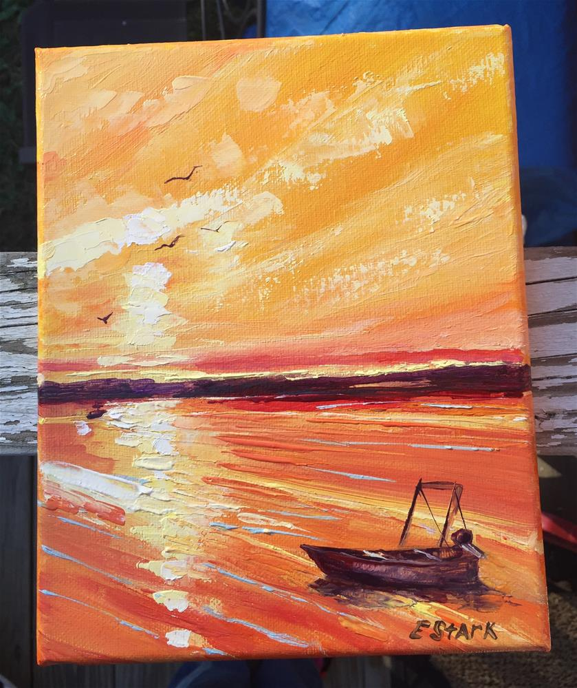 """Sunset Lake, Wildwood Crest, NJ"" original fine art by Elizabeth Ann Stark"