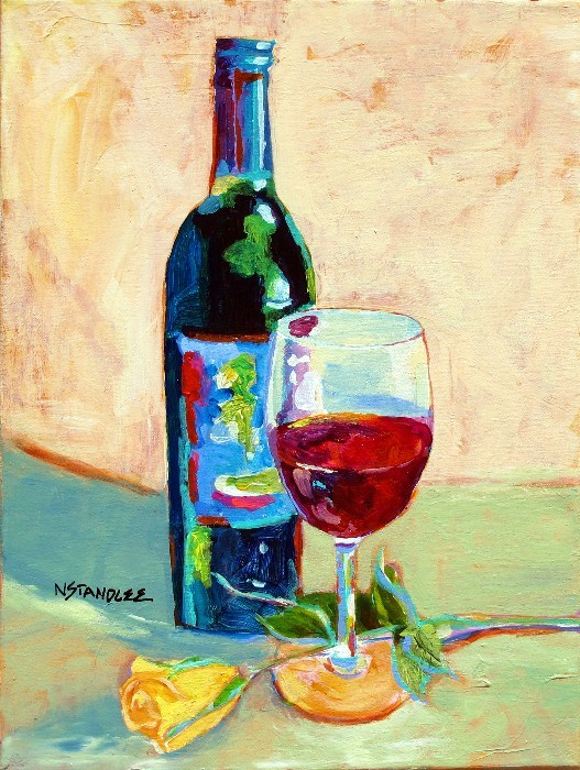 """Wine and Dine 12058"" original fine art by Nancy Standlee"