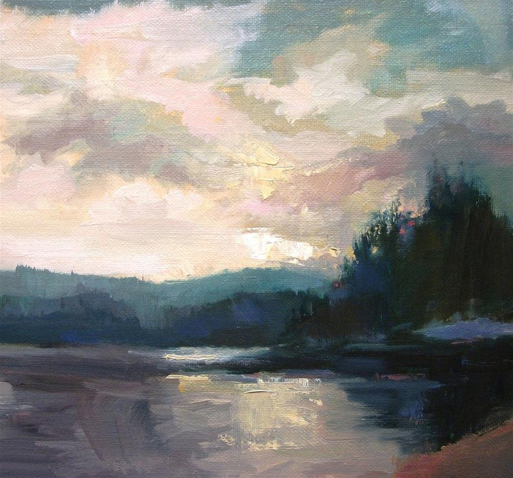 """Silver Light -late afternoon Priest Lake Winter"" original fine art by Mary Maxam"