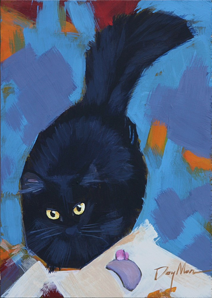 """Kitty with Mouse Toy"" original fine art by Mike Daymon"
