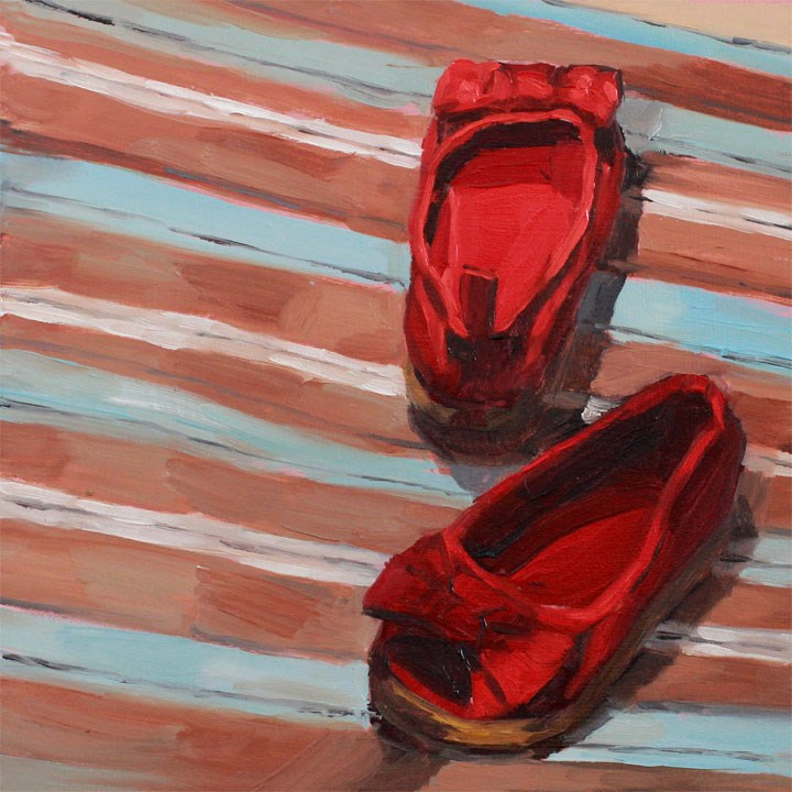"""Red Slip-Ons"" original fine art by Nealy May Riley"