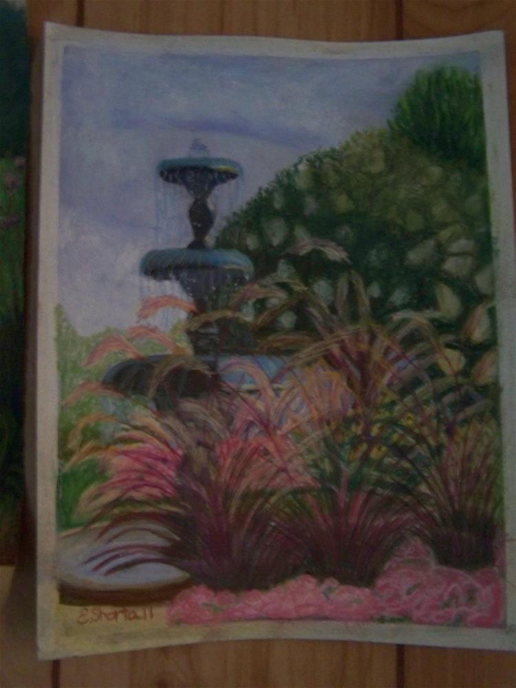 """Fountain at Idlewilde"" original fine art by Elaine Shortall"