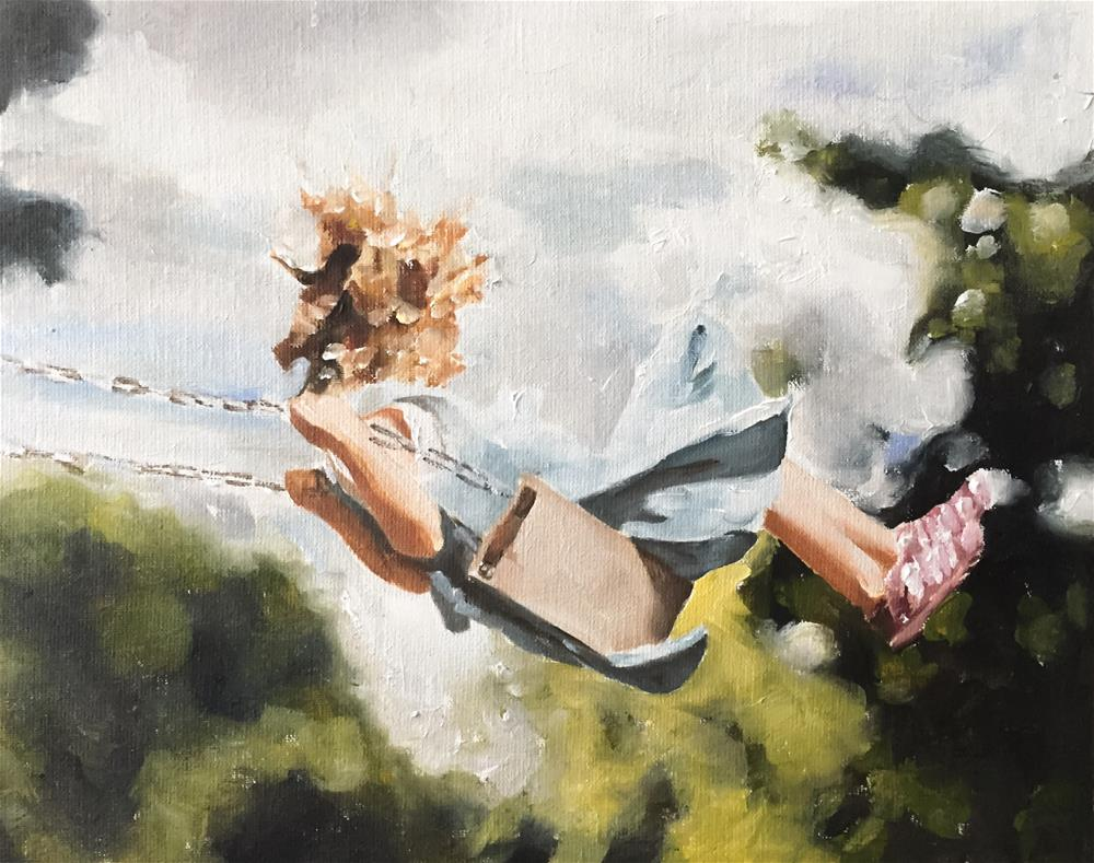 """Girl On Swing"" original fine art by James Coates"