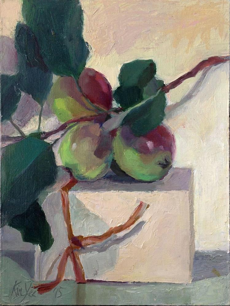 """Small Apples on Box"" original fine art by Myriam Kin-Yee"