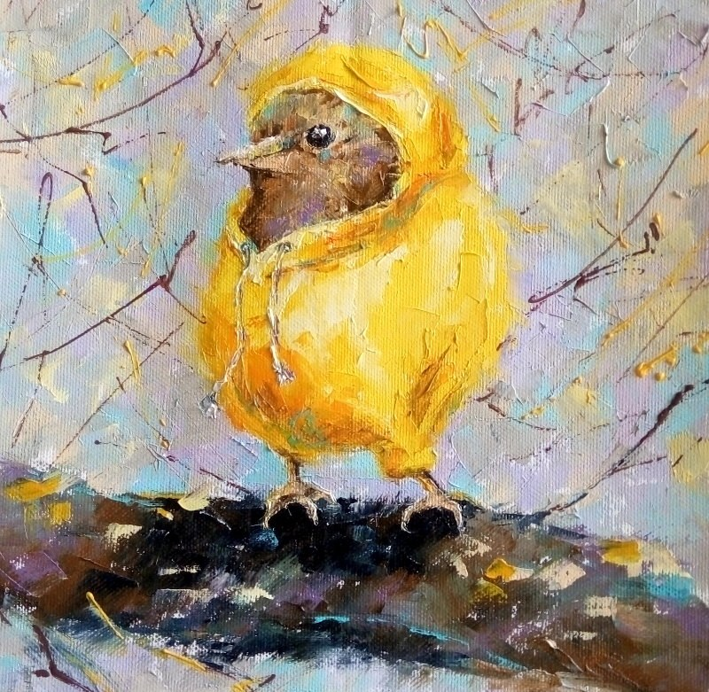 """«Bird in Hoodie»"" original fine art by Valerie Lazareva"