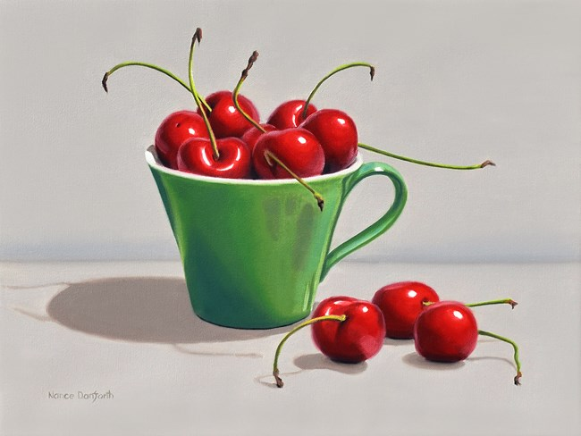 """Cherries In Green Cup"" original fine art by Nance Danforth"