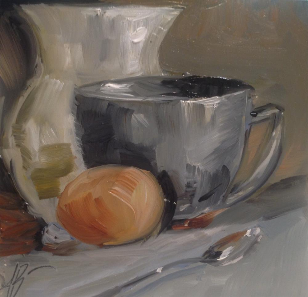 """Grays with Brown egg"" original fine art by Annette Balesteri"