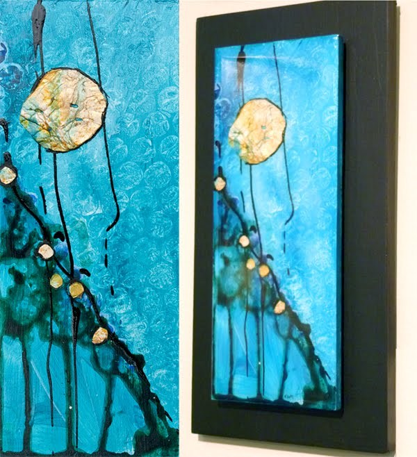 """KMA2638 Birth of Dreams by Kit Hevron Mahoney (5.5 x 11, abstact, mixed media)"" original fine art by Kit Hevron Mahoney"