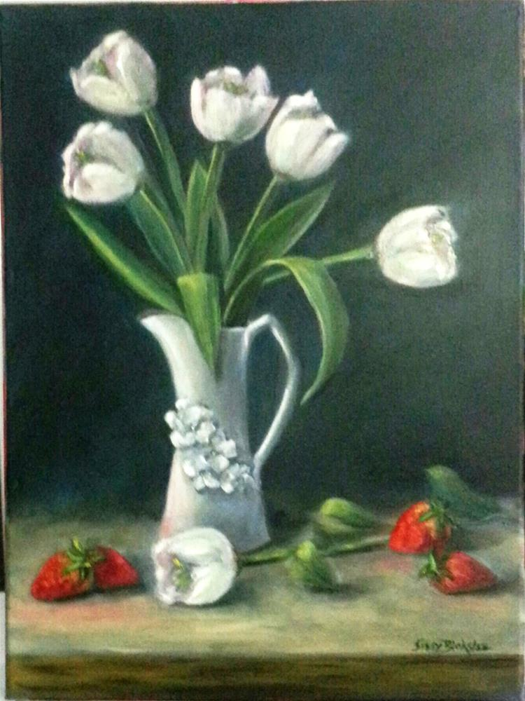 """White Tulips"" original fine art by Sissy Blakslee"