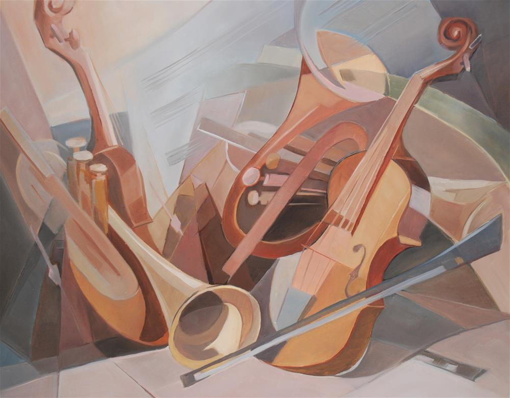 """Music instruments # 2"" original fine art by Olga Touboltseva-Lefort"