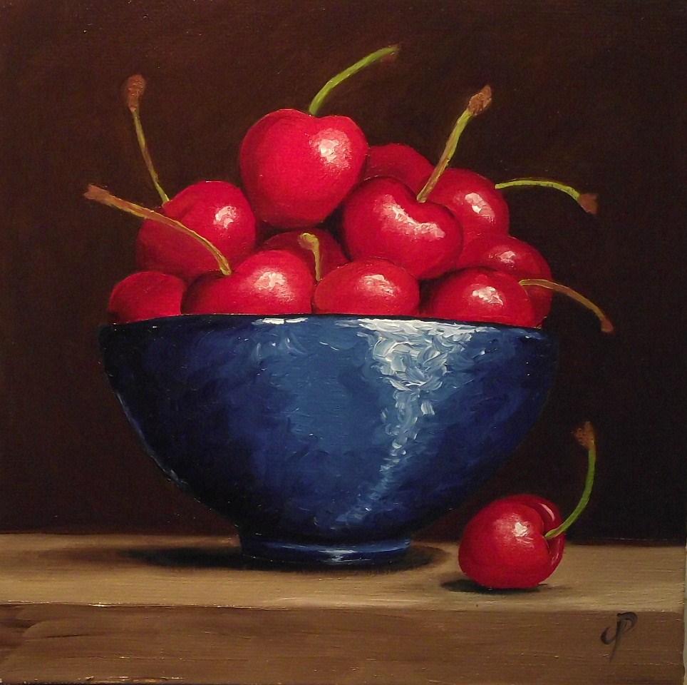 """Bowl of Cherries"" original fine art by Jane Palmer"