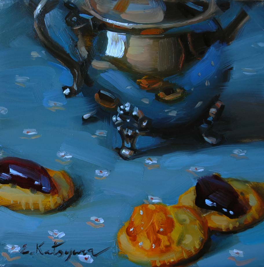 """Evening Snack"" original fine art by Elena Katsyura"