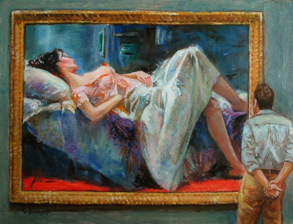 """museum visitor 2"" original fine art by vishalandra dakur"