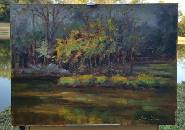 """Last Light at the Pond"" original fine art by Tammie Dickerson"
