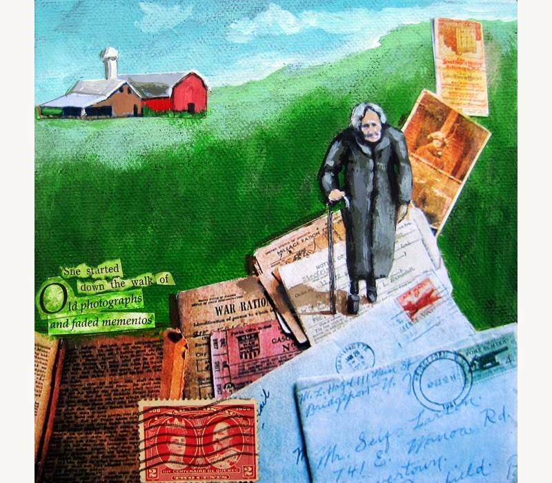 """Woman Walking Vintage letters and memories mixed media painting"" original fine art by Linda Apple"