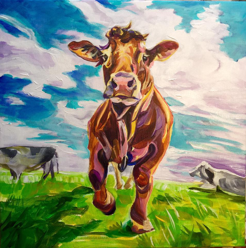 """Moooooove It"" original fine art by Lauren Kuhn"