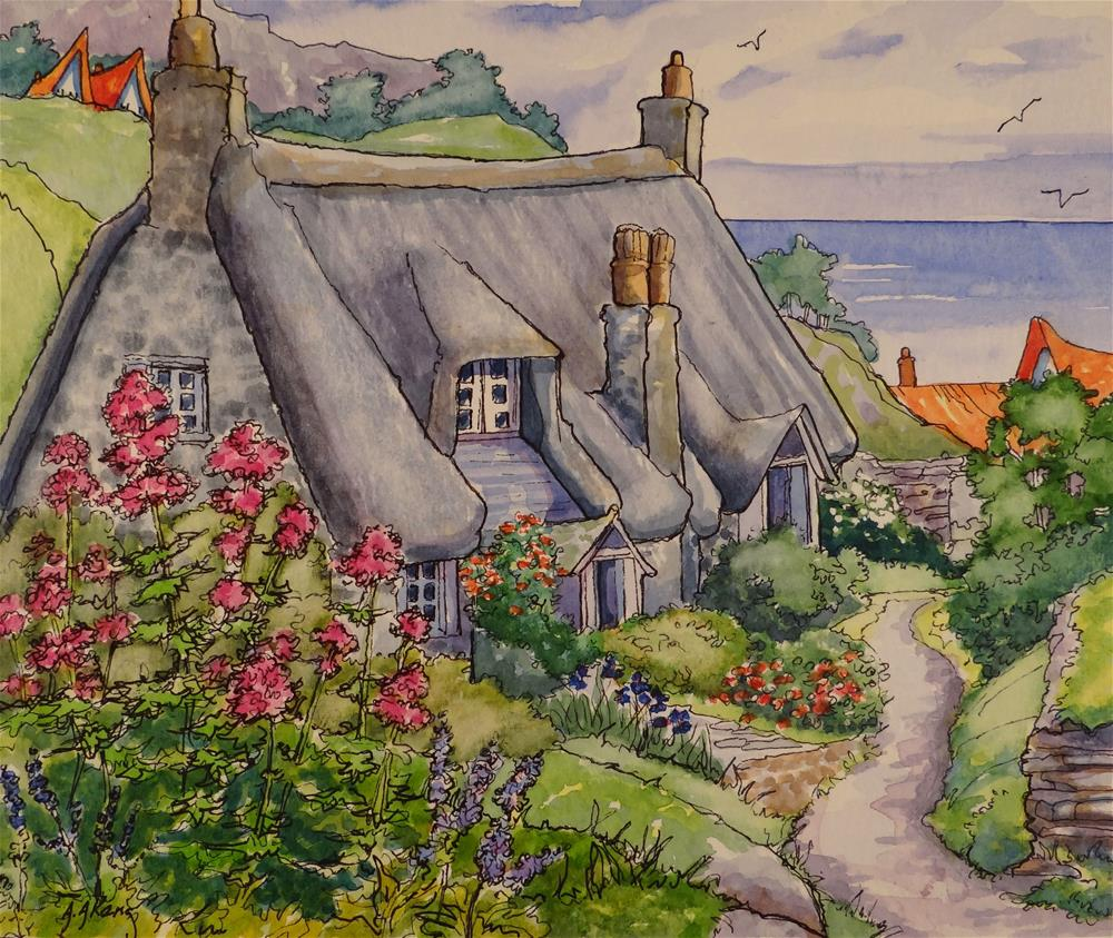 """""""Cornwall by the Sea Storybook Cottage Series"""" original fine art by Alida Akers"""