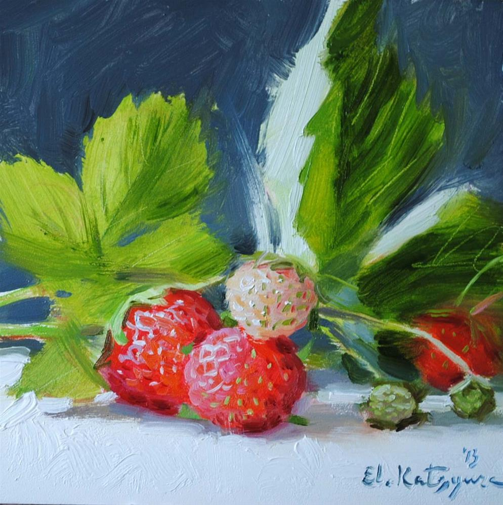 """Garden Strawberries"" original fine art by Elena Katsyura"
