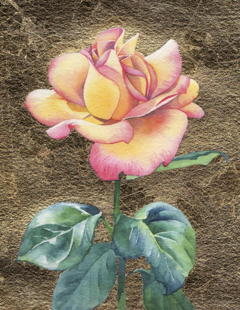 """DOROTHY'S ROSE watercolor and gold leaf floral"" original fine art by Barbara Fox"