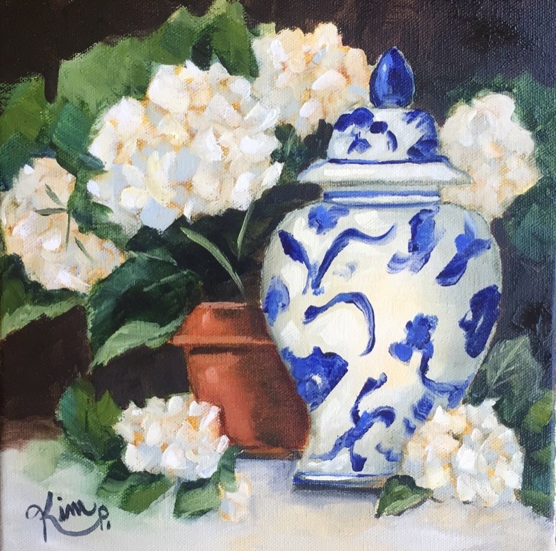 """Blue and White Ginger Jar with Potted Hydrangeas"" original fine art by Kim Peterson"