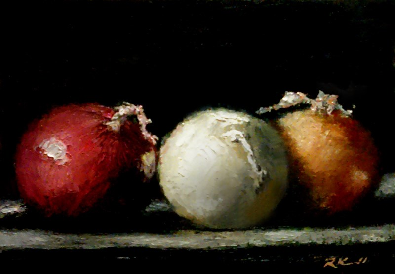 """Three Onions"" original fine art by Bob Kimball"