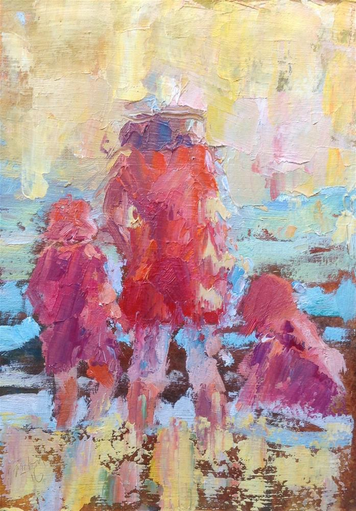 """Mom and her girls"" original fine art by Joseph Mahon"