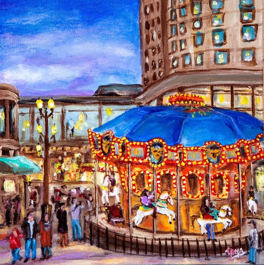"""Christmas Carousel"" original fine art by Hema Sukumar"