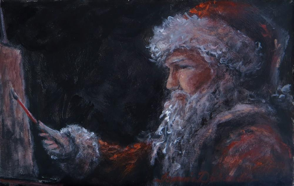 """Santa Painter"" original fine art by Tammie Dickerson"