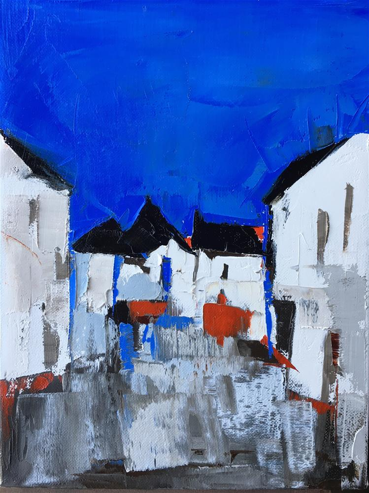 """Blue Sky Alley"" original fine art by Sandra Pratt"
